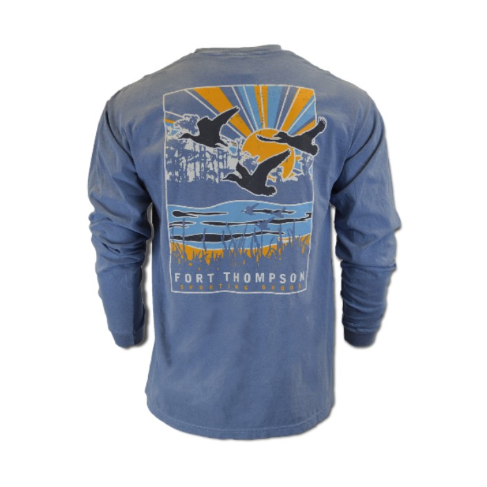 Duck Foot Cypress Sunrays Long Sleeve Pocket Tee