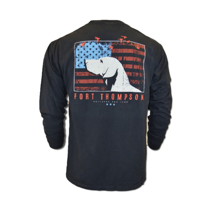 Duck Foot Patriotic Dog Tee Long Sleeve