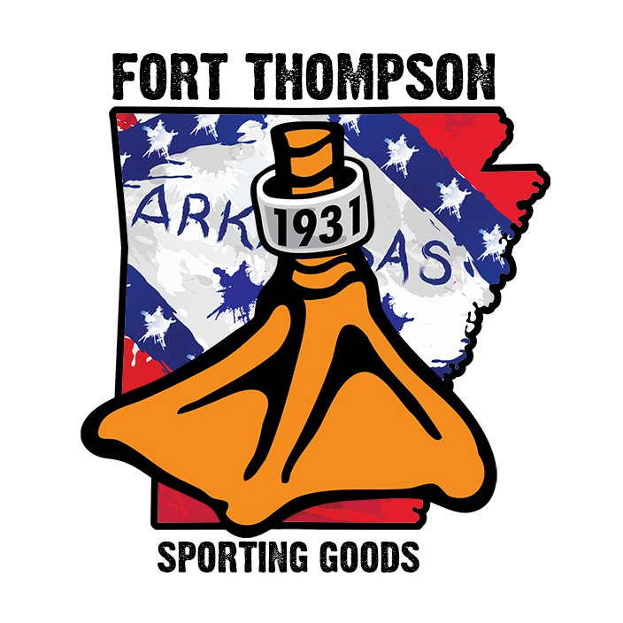 Fort Thompson AR State Flag Duck Foot Sticker