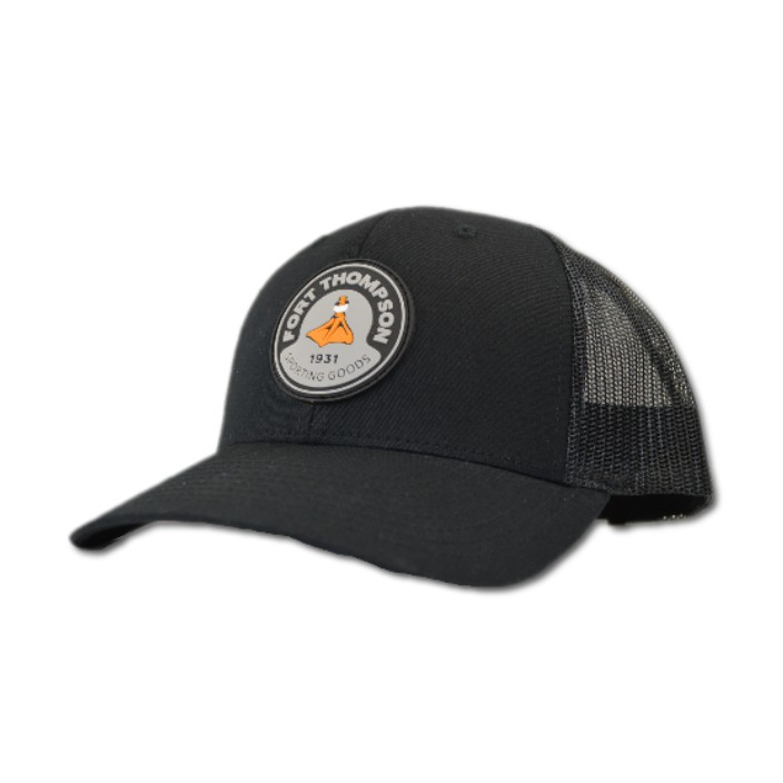 Fort Thompson Black Rubber Patch Cap