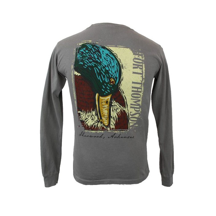 Fort Thompson Woodcut Mallard Long Sleeve Tee