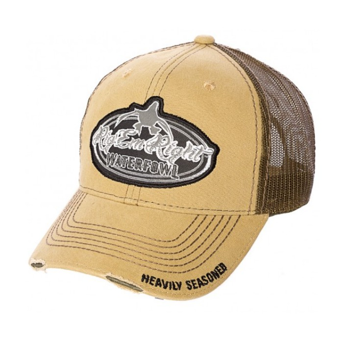 Rig 'em Right Drab Green and Khaki Distressed Trucker Hat