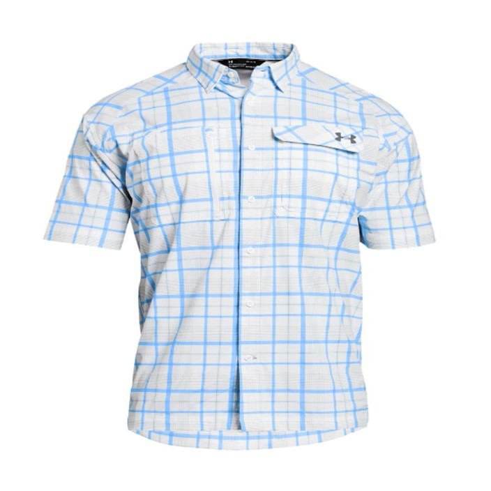UA Fish Hunter Plaid Men's Fishing Short Sleeve Shirt