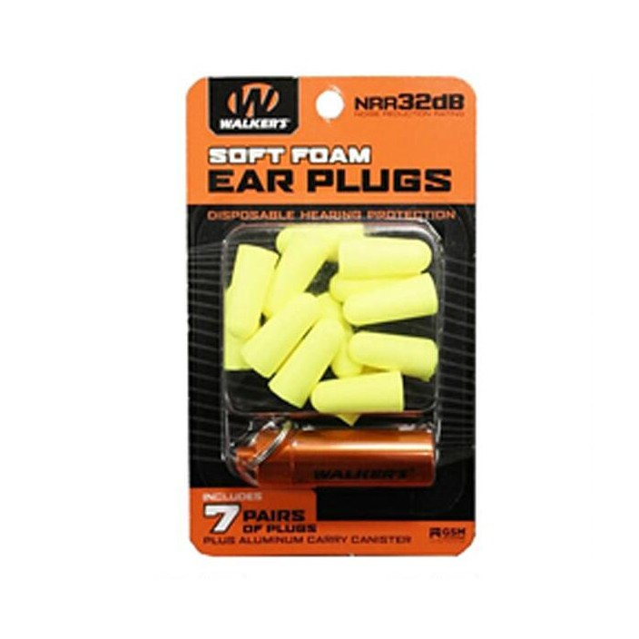 Walkers 7 PF Foam Plug with Canister GWP-PLGCAN-YL