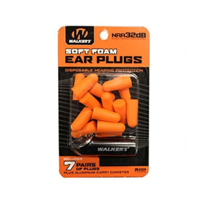 Walkers 7PR Foam Ear Plug With Canister GWP-PLGCAN-OR
